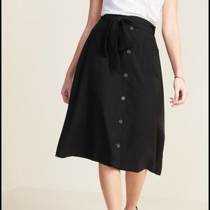 NWT Old Navy Tie belt utility midi skirt button ON